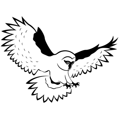 Funny owl in flight with outstretched wings wide and sharp claws, hand drawing outline isolated on a white background