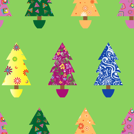 detail: Christmas tree seamless pattern with colourful ornate decoration as a fabric detail over green background