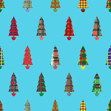 christmas plaid: Christmas tree seamless pattern with colourful ornate decoration as a Celtic tartan plaid over cyan background