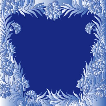 perimeter: Pattern with a frame of bluish frozen flowers along the perimeter same as hoarfrost on window, hand drawing illustration Illustration
