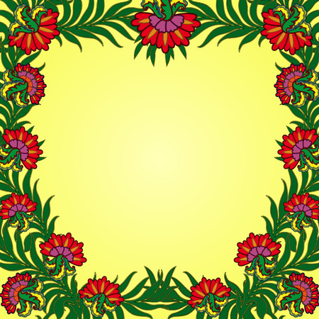 perimeter: Pattern with a frame of colorful summer flowers along the perimeter, hand drawing illustration Illustration