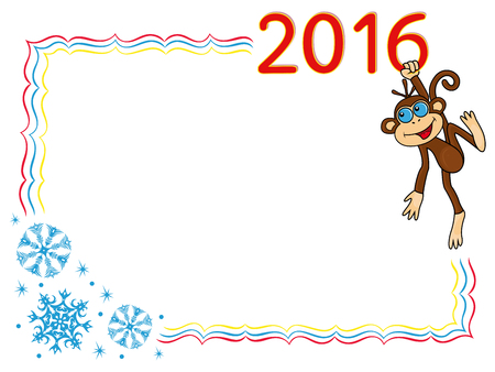 hangs: Greeting card with Funny Monkey that holds for the digit of inscription 2016 and hangs on it.