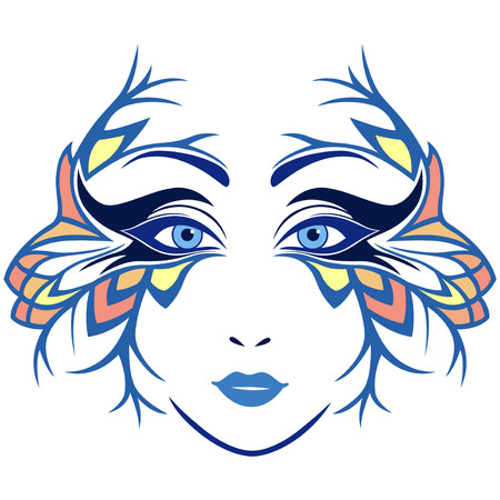 Abstract colorful women face with ornamental stylized mask, hand drawing illustration