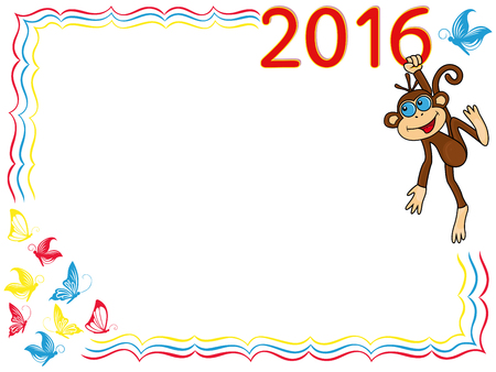 Greeting card with Funny Monkey that holds for the digit of inscription 2016 and hangs on it, cartoon artwork on the background with frame and butterflies