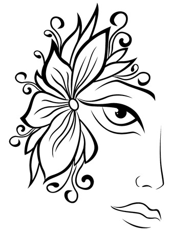 black wigs: Part of abstract black and white women face with floral accessories,  outline artwork Illustration