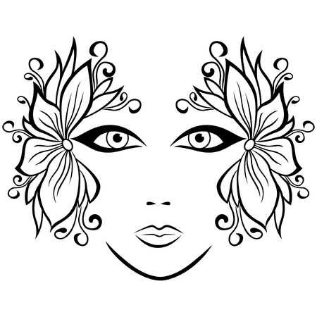 black wigs: Abstract black and white female face with ornate floral accessories,  illustration