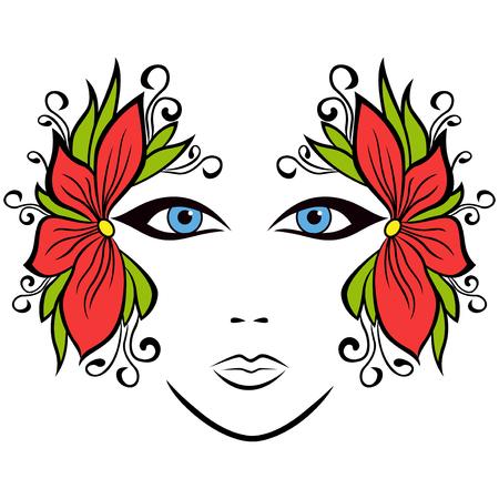 cara femenina de colores de fondo con accesorios florales estilizados, ilustración