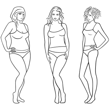 over weight: Female outlines with different weight and figures isolated over white,  illustration Illustration