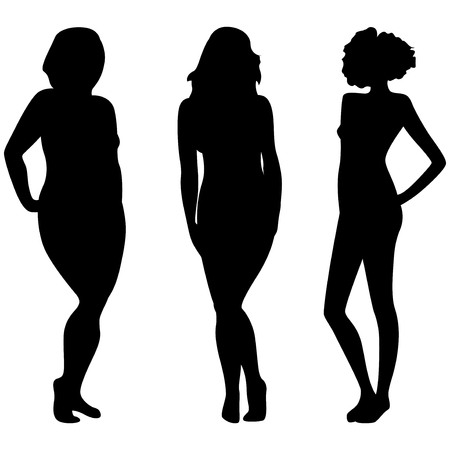portly: Female silhouettes with different weight and figures isolated over white