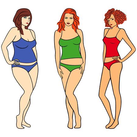 Frauen mit unterschiedlichem Gewicht und Figuren isoliert über weiß, bunte Illustration