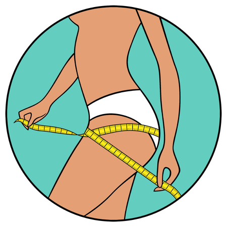measures: Abstract slender woman measures the volume of her thighs by tape,  illustration in circle isolated over white Illustration