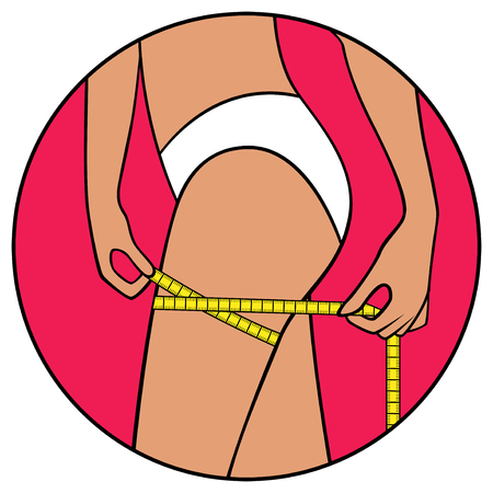 thigh: Abstract slender woman tape the size of her thigh, illustration in circle isolated over white