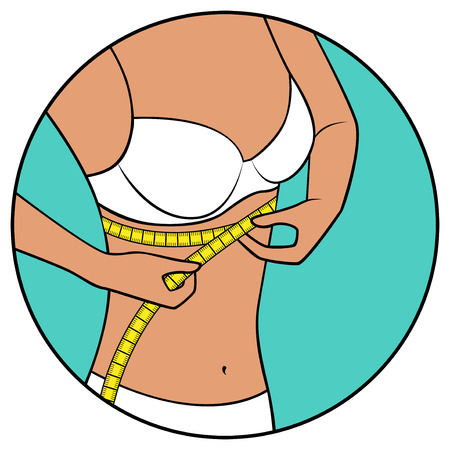 abdomen women: Abstract slender woman tape the size of her chest,  illustration in circle isolated over white