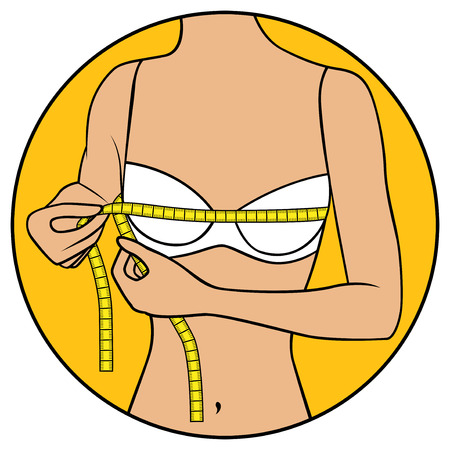 Abstract slender girl tape the size of her chest, illustration in circle isolated over white