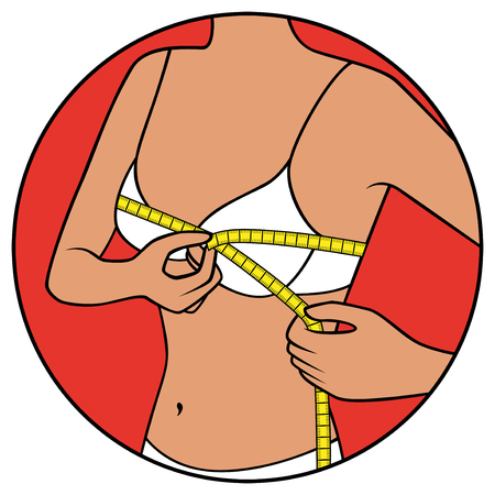 Abstract slim girl tape the size of her chest,illustration in circle isolated over white