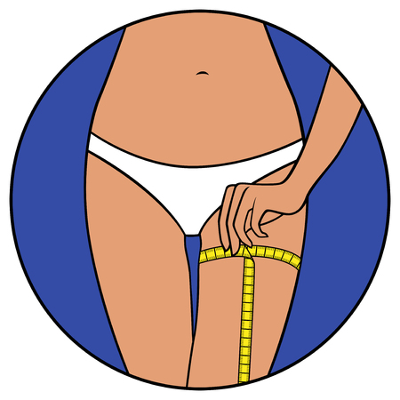 sexy belly: Abstract slim girl tape the size of her thigh, hand drawing vector illustration in circle isolated over white Illustration