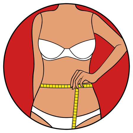 Abstract slim woman measuring waistline size with tape measure, hand drawing vector illustration in circle isolated over white