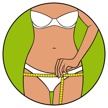 sexy belly: Abstract slim girl tape the size of her hips, hand drawing vector illustration in circle isolated over white
