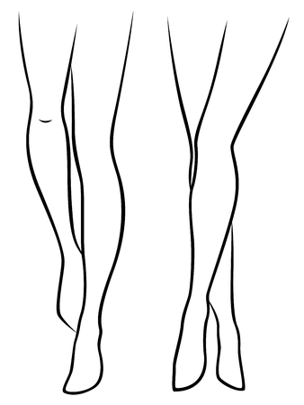 barefooted: Abstract slender women barefooted feet, hand drawing vector outline Illustration