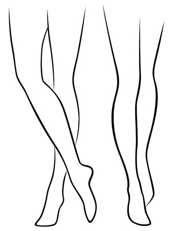 Abstract slender female bare feet, hand drawing vector outline
