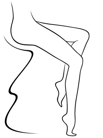 naked woman sitting: Abstract lower part of graceful sitting female body, hand drawing vector outline