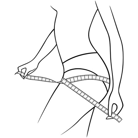 Girl measuring the size of her thighs with tape measure, outline vector artwork