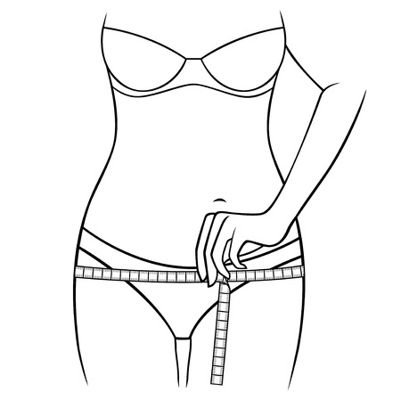 thighs: Woman measuring the size of her thighs with tape measure, outline vector artwork