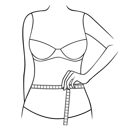 sexy belly: Woman measuring the size of her waist with tape measure, outline vector artwork