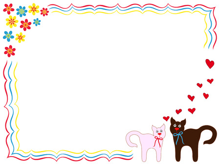 elation: Cat and Kitty on Valentine greeting card with hearts and flowers, hand drawing cartoon vector illustration