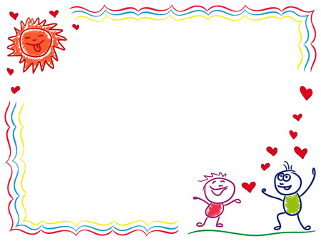 elation: Boy and girl in love, hand drawing cartoon vector Valentine greeting card Illustration