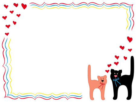 elation: Black Cat and Pink Kitty in Love, hand drawing vector cartoon Valentine greeting card Illustration