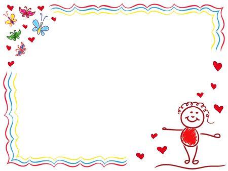 elation: Girl in Love, hand drawing vector cartoon Valentine greeting card