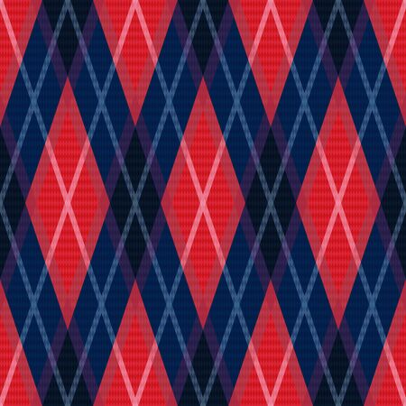 rhombic: Rhombic seamless vector pattern as a tartan plaid in dark blue and red colors Illustration