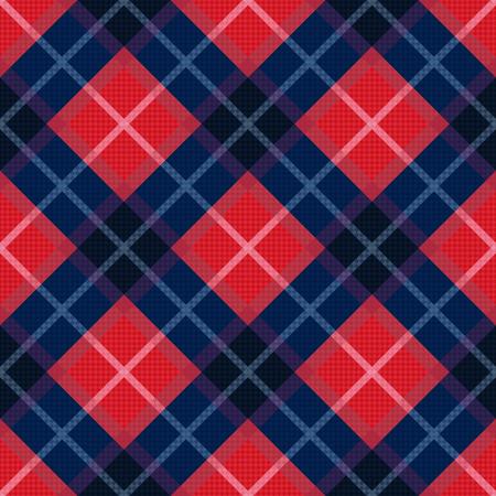 tartan plaid: Diagonal seamless vector pattern as a tartan plaid in dark blue and red colors Illustration