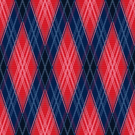 classic contrast: Rhombic contrast seamless vector pattern as a tartan plaid in red and blue colors Illustration