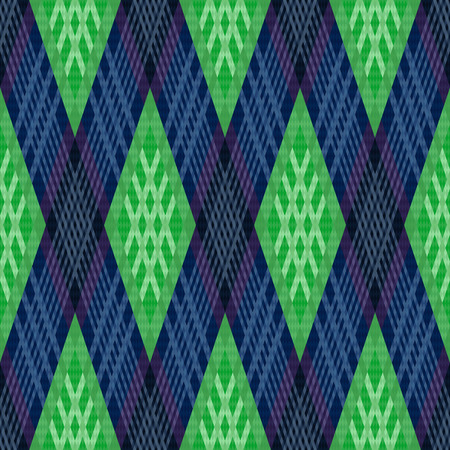 modish: Rhombic contrast seamless vector pattern as a tartan plaid in green and blue colors