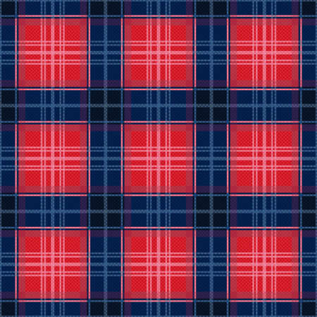 modish: Rectangular contrast seamless vector pattern as a tartan plaid in red and blue colors Illustration