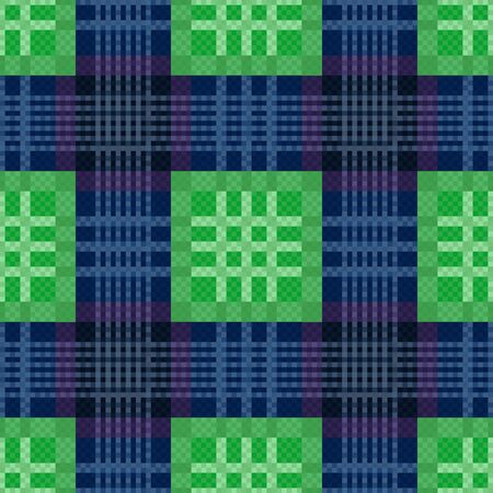 tartan plaid: Rectangular contrast seamless vector pattern as a tartan plaid in green and blue colors Illustration