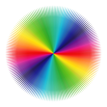 variegated: Abstract variegated pattern with colored radial symmetrical beams of visible spectrum on a white background, illustration