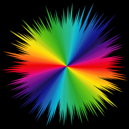 variegated: Abstract variegated pattern with colored radial beams of visible spectrum on a black background, illustration