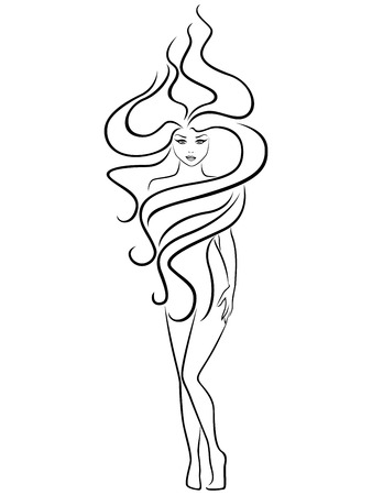 extraordinary: Abstract female with extraordinary hairstyle,  outline Illustration