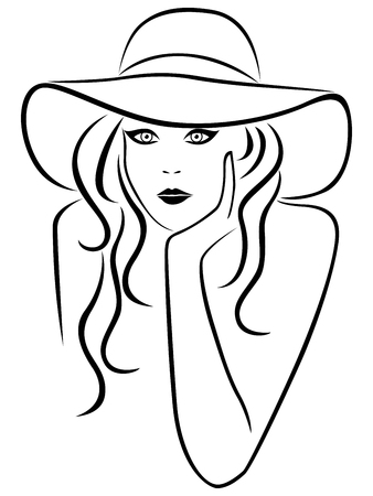 looking straight: Abstract young woman portrait in a hat with wide brim, outline Illustration