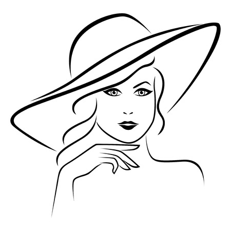 Abstract young lady portrait in a wide brimmed hat, outline