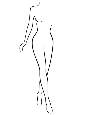 assured: Abstract slender woman stepping by assured gait,  outline
