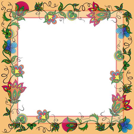 Postcard with wreath of color flowers and other floral elements,  illustration