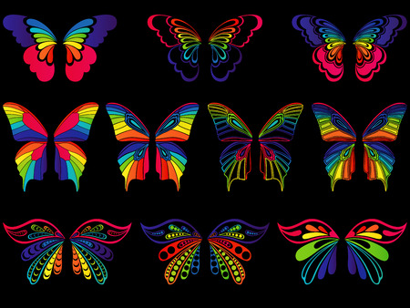 Set of ten motley colourful ornamental wings of butterflies isolated on the black background, artwork