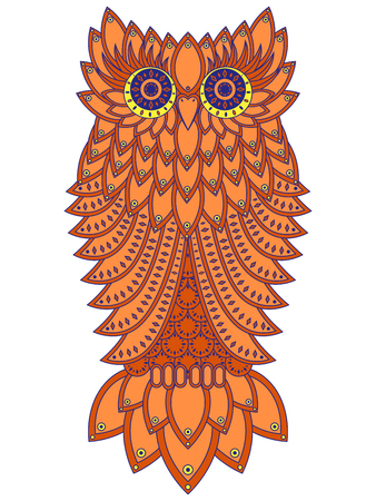 nightly: Amusing big orange owl with geometric elements isolated on the white background, cartoon artwork
