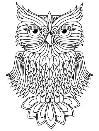 head wise: Amusing big owl black outline isolated on the white background, cartoon artwork Illustration
