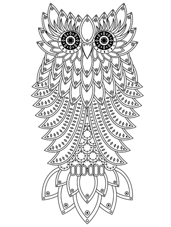 nightly: Amusing big owl with geometric elements black outline isolated on the white background, cartoon artwork Illustration