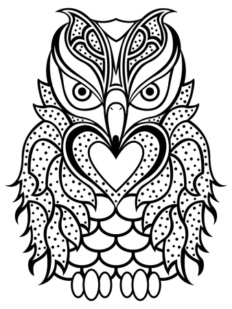 beak: Amusing big owl with long beak black outline isolated on the white background, cartoon artwork